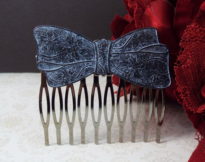 Victorian Black White Filigree Bow Gothic Bridal Hair Comb