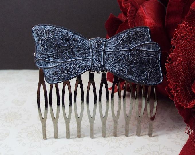 Victorian Black White Filigree Bow Gothic Bridal Hair Comb