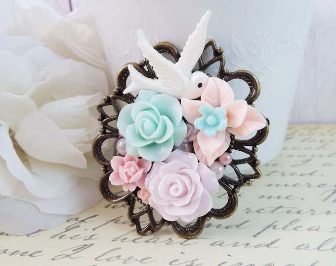 Dove Bird Flower Victorian Floral Cameo Brooch - Pastel Mint Blue Lavender Pink