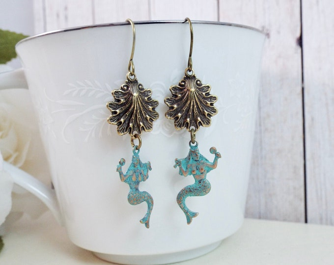 Vintage Patina Mermaid Victorian Bronze Shell Dangle Drop Earrings - A Siren's Song