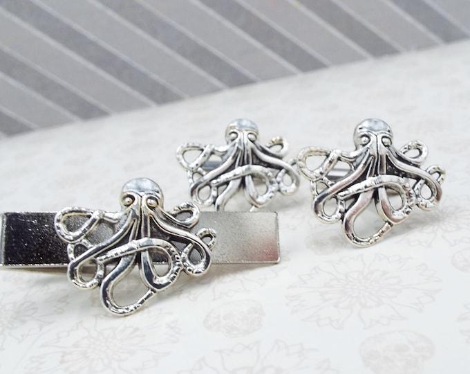 Antique Silver Octopus Cufflinks Tie Bar Clip - Cthulhu