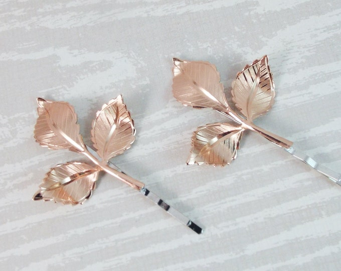 Shiny Rose Gold Branch Leaves Bridal Hair Bobby Pin Set - Gifts for Bridesmaids Daughter Wife Girlfriend Woodland Wedding