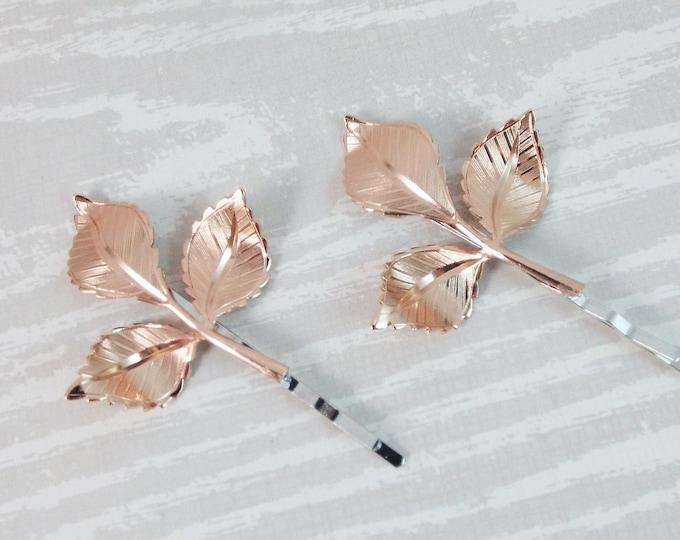 Shiny Rose Gold Branch Leaves Bridal Hair Bobby Pin Set