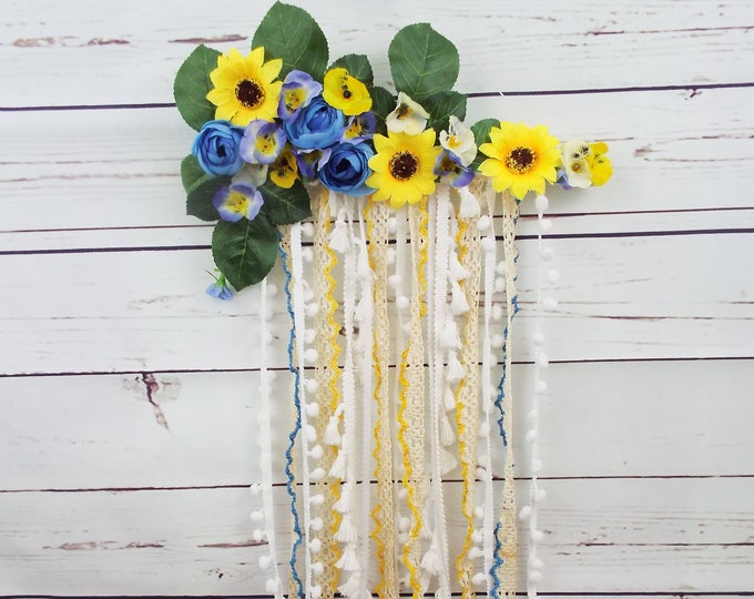 Blue & White Floral Dream Catcher Wall Hanging