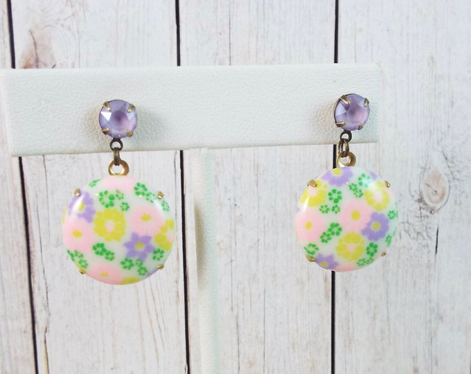 Lavender Pink Green Groovy Aqua Flower Milk Glass Gold Earrings - Modern Vintage Jewelry