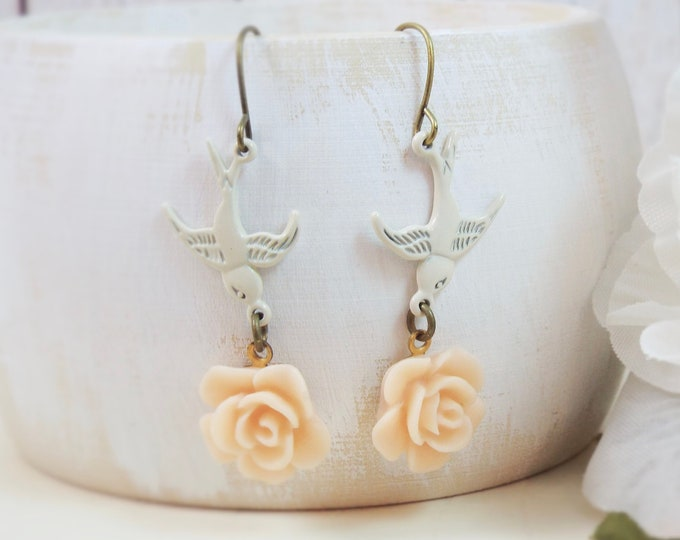 Antique White Bird Dusty Rose Earrings - Shabby Chic by SPDJewelry