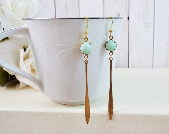 Modern Mint Gold Earrings - Elegance - Split Personality Designs