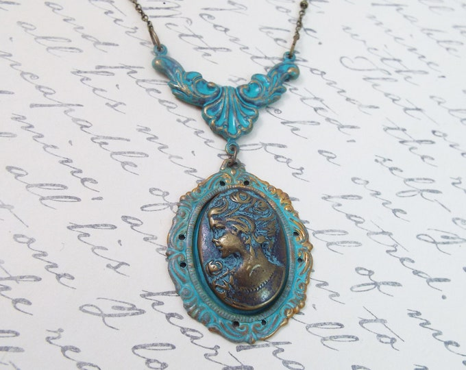 Rustic Bronze Verdigris Patina Cameo Y Necklace - Sunken Treasure Victorian Jewelry - Bridal Necklace Historical Period Wedding