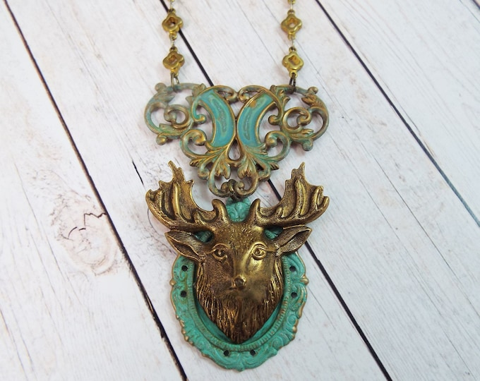 Rustic Bronze Stag Deer Necklace Collar, Verdigris Patina - Modern Woodland Wedding Jewelry Statement Jewelry - Forest Spirit, Black Forest