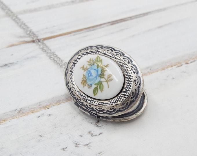 Antique Silver Porcelain Blue Rose Flower Locket Pendant Necklace