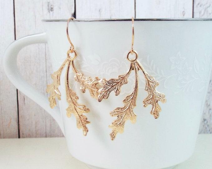 Rose Gold Oak Leaf Earrings - Nature Inspired Blush Wedding