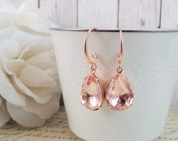 Rose Gold Teardrop Crystal Drop Dangle Earrings - Pink Blush