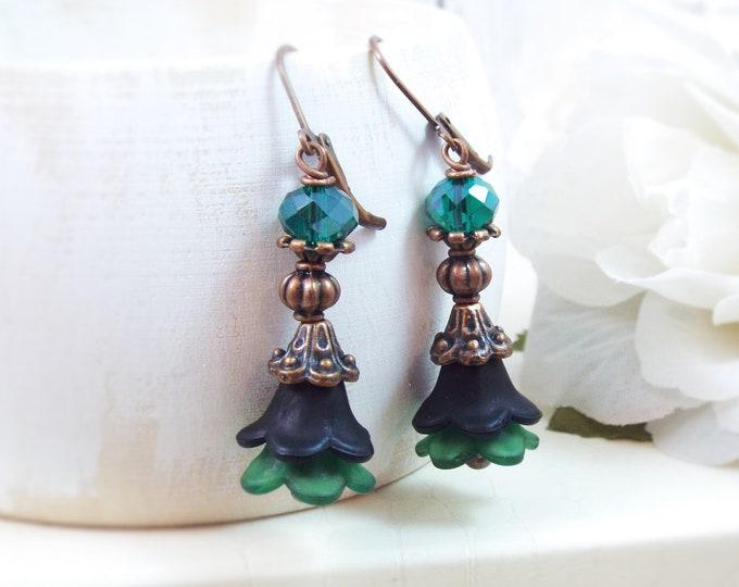 Victorian Black Emerald Green Copper Floral Bell Earrings - Lolita's Petticoat
