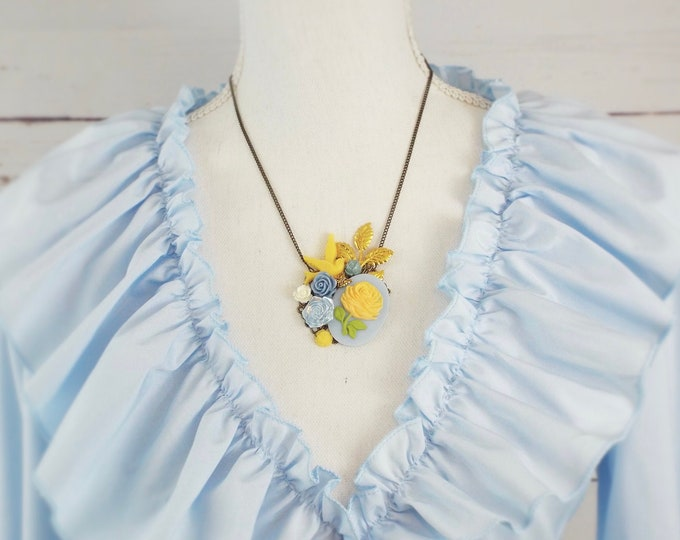 Flower Bird Butterfly Collage Necklace Yellow & Sky Blue Gold - Spring Wings - Modern Victorian by SPDJewelry