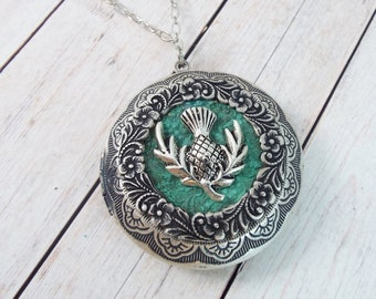 Silver Scottish Thistle Verdigris Locket Large Round Picture Pendant Layering Necklace Vintage Patina Filigree - Pansy Flower - SPDJewelry
