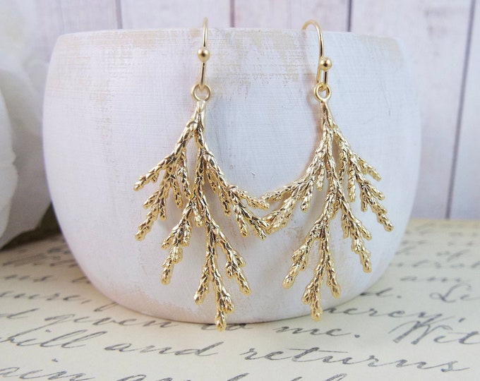 Gold Coniferous Cedar Tree Evergreen Needle Sprig Earrings