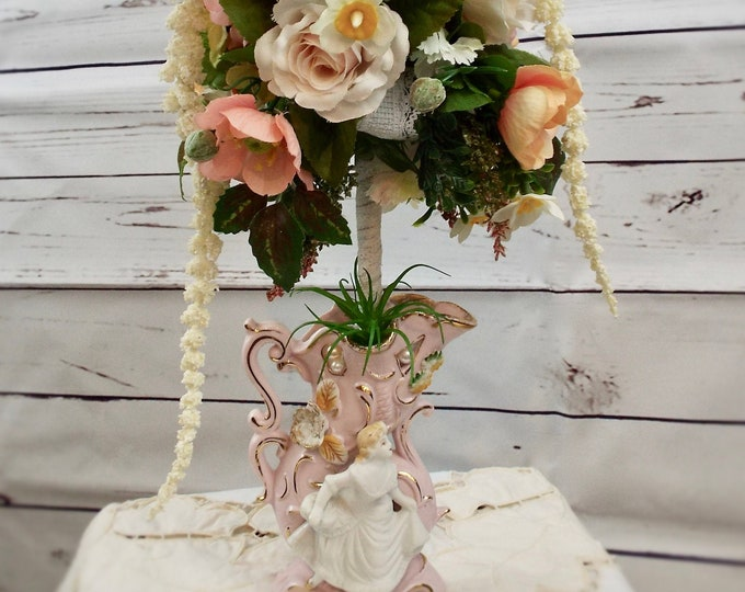 Antique Victorian Lady Cinderella Porcelain Vase Wedding Flower Floral Home Decor Centerpiece Nursery Bedroom - Blush, Peach, Green, Rose