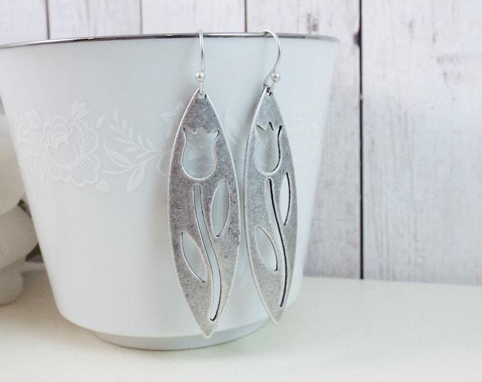 Scandinavian Oxidized Silver Swedish Modernism Earrings