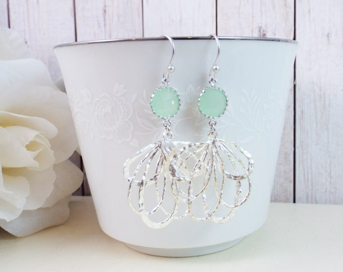 Modern Mint Green Blue Silver Statement Bridal Earrings - Fan Dance - Split Personality Designs