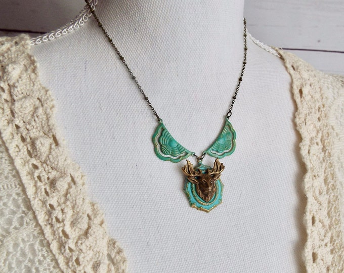 Rustic Bronze Stag Deer Necklace Collar, Verdigris Patina - Modern Woodland Wedding Jewelry - Black Forest Spirit
