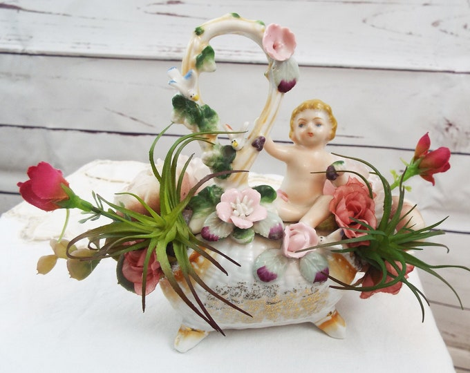 Vintage Porcelain Cherub Rose Air Plant Eucalyptus Wedding Party Flower Floral Home Decor Succulent Nursery Bedroom - Baby Shower