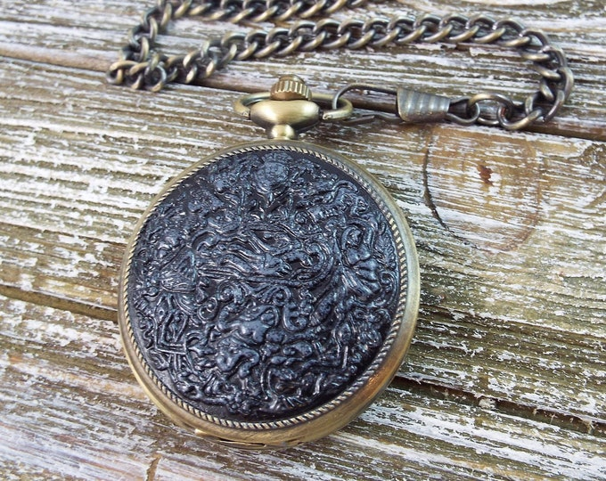 Harem Steampunk Bronze Pocket Watch - Raja - Nude Women in Pewter and Black