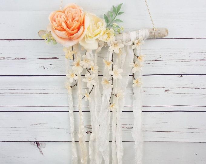 Peach Champagne Apple Blossom Silk Wall Hanging