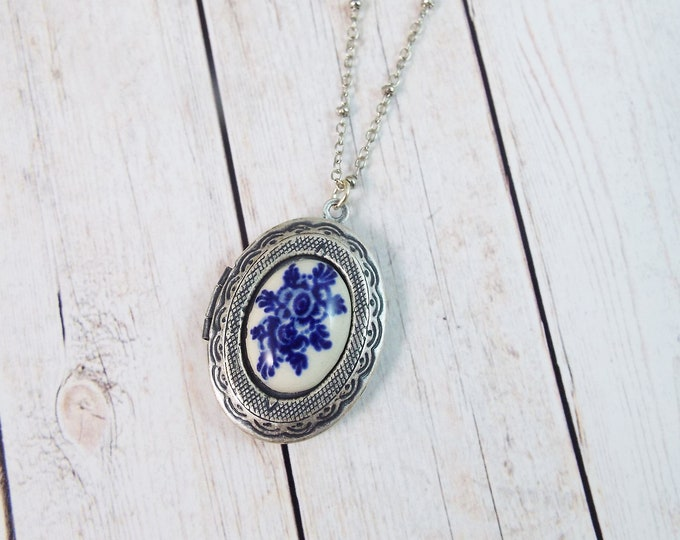 Vintage Delft Blue White Rose Flower Photo Locket Silver Pendant - Keepsake Gift by Split Personality Designs