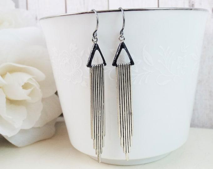 Modern Silver Black Art Deco Swag Geometric Earrings - Triangle Swag Great Gatsby Earrings - Gift for Wife Mom Sister Girlfriend