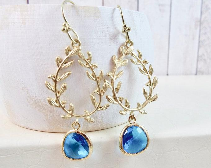 Gold Laurel Wreath Capri Blue Glass Bridal Jewelry Leaf Branch Dangle Earrings Bridesmaids Gift Chandelier Nature Garden Long Drop