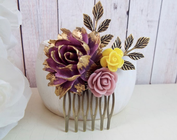Plum Gold Purple Yellow Floral Flower Petite Hair Comb - Vintage Wedding Hair Accessory - Bridal, Bridesmaids Clip Slide Pin