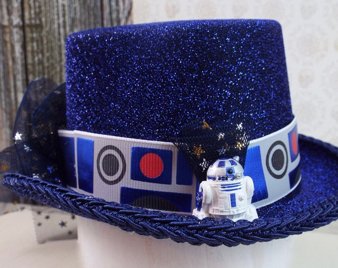 Star Wars R2D2 Fascinator Mini Top Hat - Droid Halloween Robot Costume - Whimsical Millinery Tulle Blue Glitter Crown Cosplay
