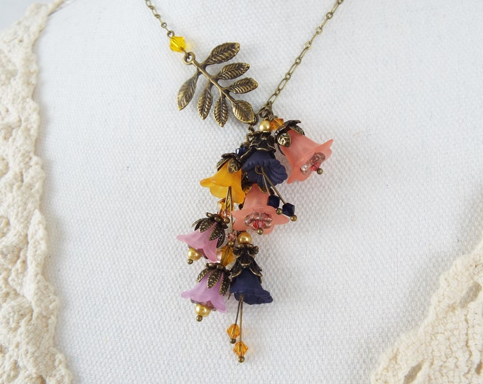 Honey Wedding Theme Coral, Navy Blue, Orchid Trumpet Flower Leaf Branch Lariat Statement Necklace - Secret Garden - Mother of the Bride