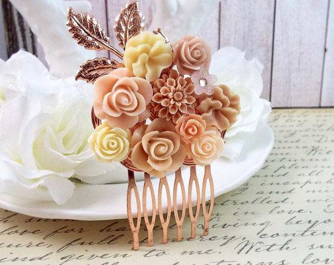 Rose Gold Blush Bridal Rose Floral Spray Hair Comb - Modern Vintage Hair Accessory