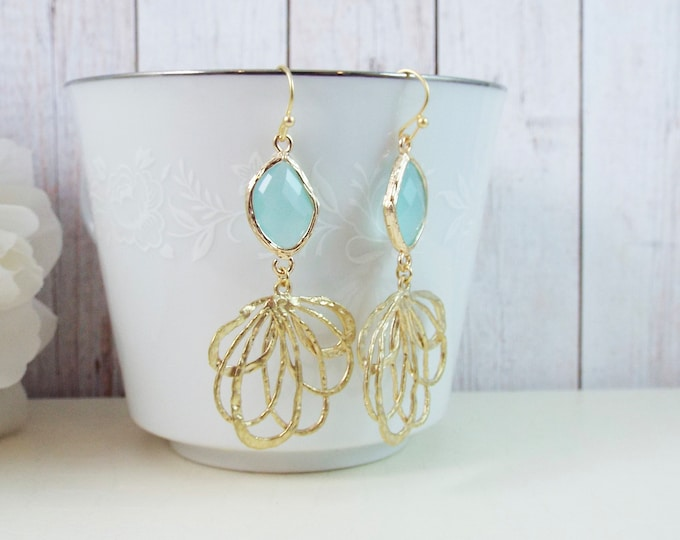 Modern Pastel Blue Gold Statement Bridal Bridesmaid Earrings