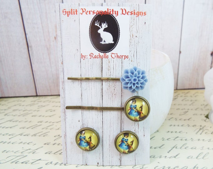Victorian Rabbit Girl Alice Mums Bobby Pin Earrings Gift Set - Modern Woodland - Teen Girl Gifts