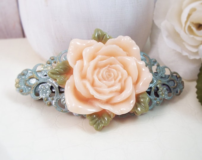 Antique Peach Rose Aqua Mint Filigree Barrette - Bridal Barrette