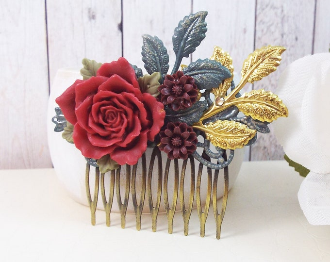 Rose Red Berry Enameled Leaves Hair Comb - Vintage Hair Accessory