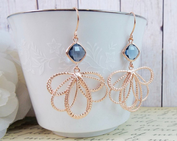 Modern Navy Blue Rose Gold Statement Bridal Earrings - Fan Dance - Bridesmaid Gifts Jewelry Mother of Bride Groom Gifts
