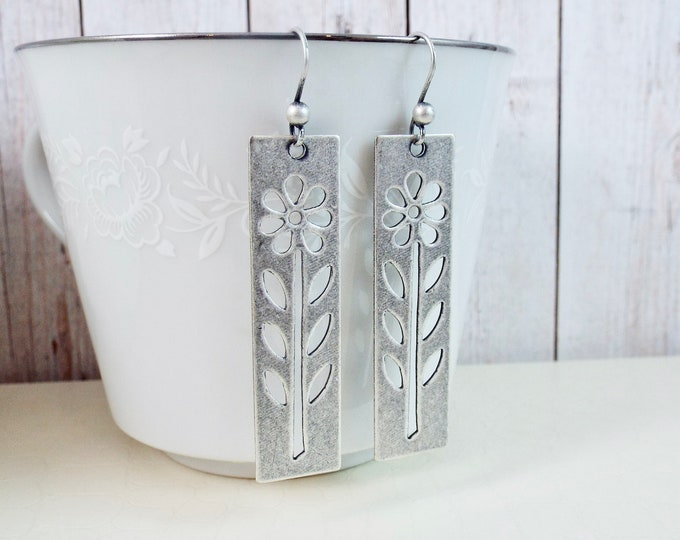 Scandinavian Oxidized Silver Swedish Modernism Earrings