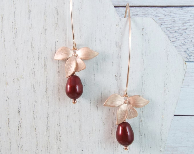 Rose Gold Orchid Flower Faux Glass Burgundy Pearl, Bridal Jewelry Leaf Blossom Dangle Earrings Bridesmaids Gift Chandelier Nature Garden