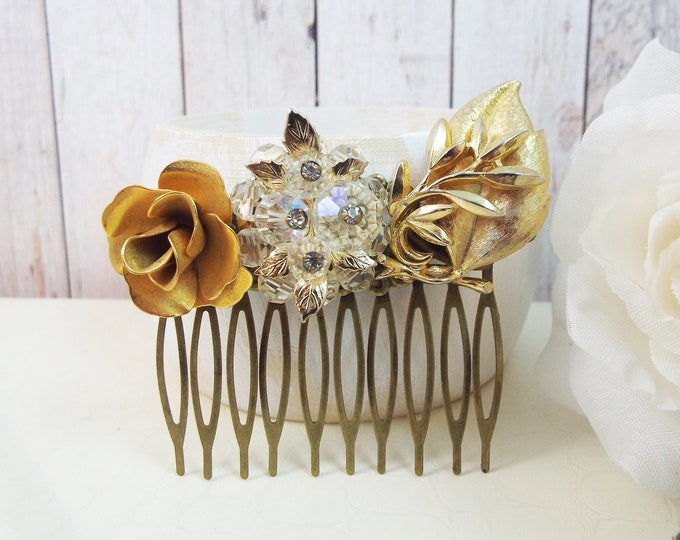 Gold Rose Flower Crystal, Vintage Earring Bridal Hair Comb, Wedding Hair Piece - Something Old - Leaf Leaves Garden Party, Black Tie