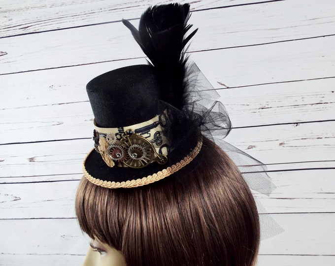 Tall Black Steampunk Fascinator Mini Top Hat - Penny Farthing Gears - Gypsy Zombie Skull Cameo, Millinery Halloween Costume, Goth Cosplay