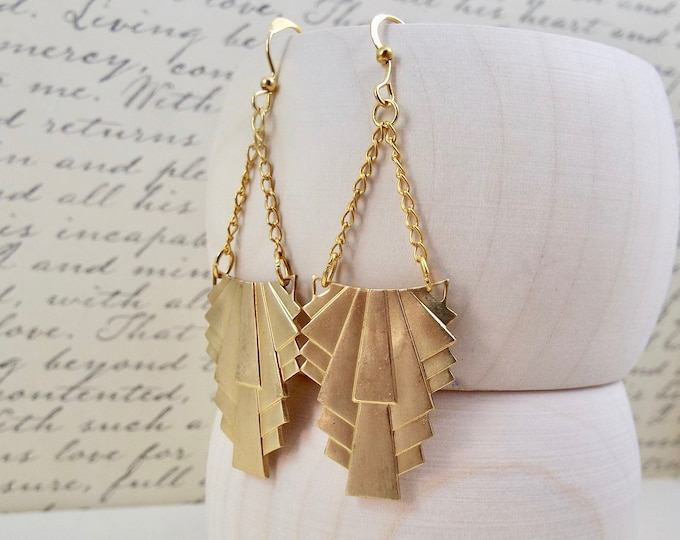 Modern Gold Geometric Earrings - Art Deco Banner Swag Earrings