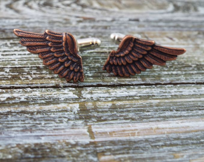Rose Gold Copper Wing Cufflinks - Men's Accessories by Split Personality