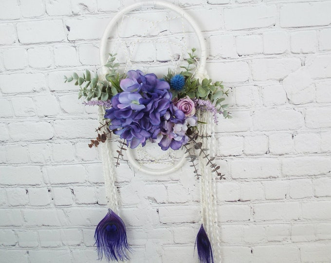Modern White Purple Dreamcatcher Wall Hanging, Floral Peacock Feathers, Flower Wall Art, Hydrangea Eucalyptus BOHO Nursery Decor