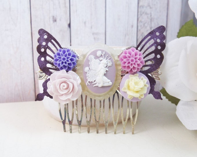 Lavender Purple Flower Fairy Hair Comb - Butterfly Hair Accessory - Flower Girl