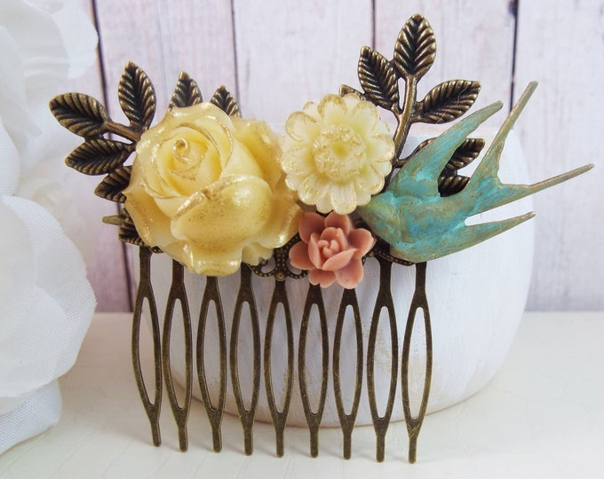 Sage Verdigris Teal, Toasted Almond Ivory, Peach Coral Flower Floral Bird - Fern Leaf Spray Bridal Comb, Modern Vintage Hair Accessory