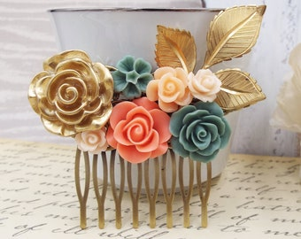 Gold Coral Sage Olive Green Flower Comb - Peach Floral Rose Spray Bridal Comb, Modern Vintage Hair Accessory - Gift for Mom Wife Bridesmaids