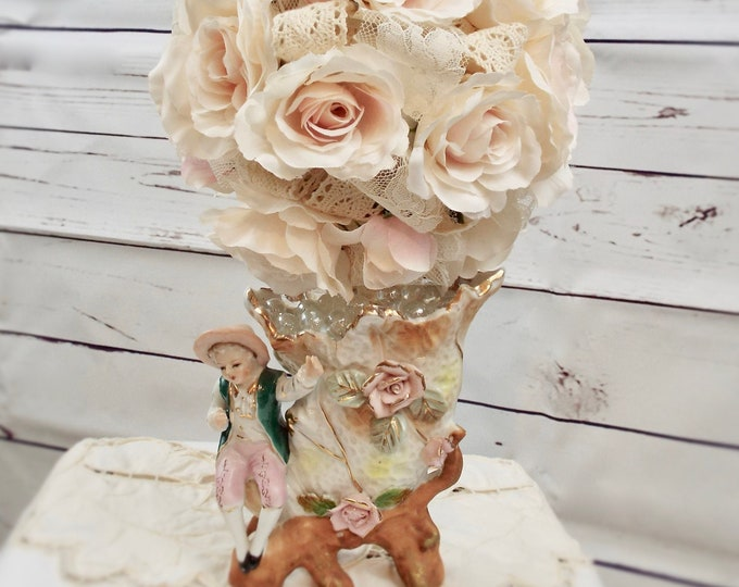 Antique Rose German Lace Lad Porcelain Topiary Vase, Shabby Chic Pink Vintage Wedding, Flower Floral Home Decor, Nursery Decorations